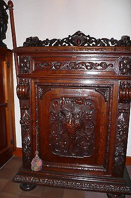 Wildfowl Carving Antique Oak Court Cupboard