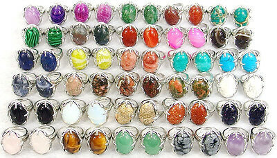 fashion silver plated sizable rings with natural gemstone beads stone 6-10