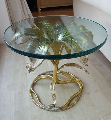 ARTHUR COURT GILDED ALUMINIUM  GLASS TOP LILY TABLE (occasional / side table)