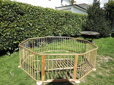 Baby Toddler Large 8 sided Wooden Playpen Foldable with Extra Panels Gates