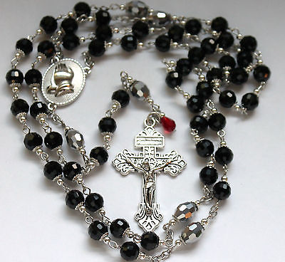 Silver Or  Black Czech Crystal Pater Beads Praying Hands Rosary's You Pick