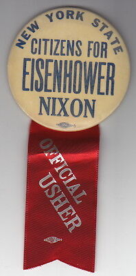New York State Citizens For Eisenhower Nixon Button - With Usher Ribbon -- Rare!