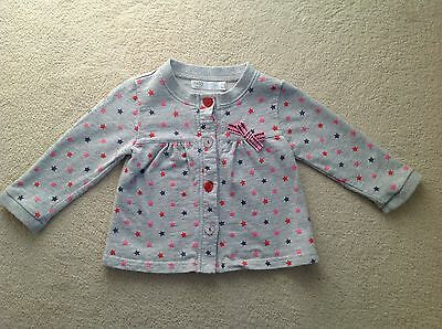 Baby M & Co Girls Grey Star Print Cardigan Glitter Buttons In Size 9-12 Months