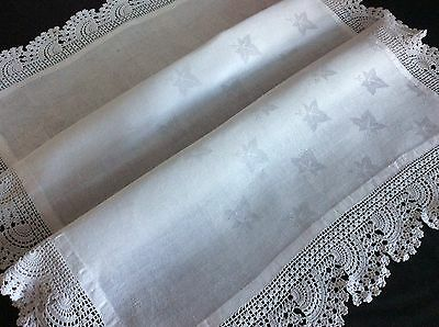 """LOVELY LARGE ANTIQUE DAMASK IRISH LINEN BUTLERS TRAY CLOTH ~ LACE ~ 31x23"""""""