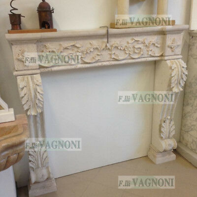CAMINO IN TRAVERTINO MARMO PIETRA CAMINETTO cm. 136x125 FIREPLACE MARBLE STONE