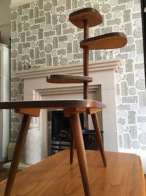 Vintage Plant Stand Mid Century Wood Side Kidney Table Retro Space Age Eames
