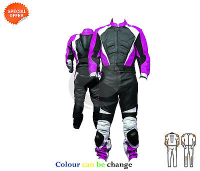 Ladies two piece motorbike leathers motorcycle riding suit in purple and pink