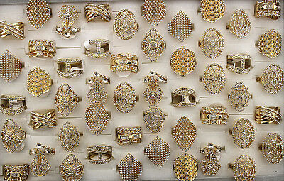 35pcs Job Lots Gold P Jewelry Women Lady's Filled Crystal Rhinestone Rings AH865