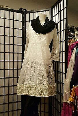 Latest Pakistani/Indian silk Peplum Gharara Bell Bottom net kurta 4pc size M