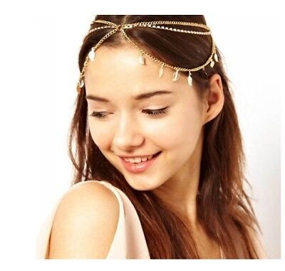 Fashion Women Metal Rhinestone Head Chain Jewelry Headband Piece Hair Band AG