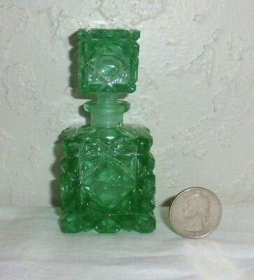 """Vintage Green Cut Glass 3.75"""" Perfume Bottle With Stopper"""
