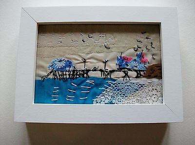 Original Hand Stitched Fabric Cromer Pier Seascape Picture In A White Frame