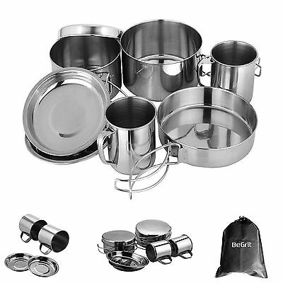 Backpacking Camping Cookware Set Stainless Steel Outdoor Cooking Pot Picnic 8-Pc