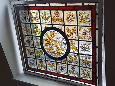 Beautiful Victorian stained glass hand painted panel 60cm x 51.5cm Northants