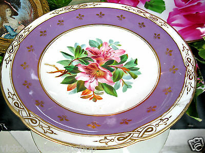 Antique 1800's Comport Footed Compote Hand Painted Floral Design