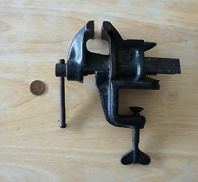 "Vintage Bonney Forge & Tool Works Clamp On Bench Hobby Vise  2 1/4"" Cast Iron"