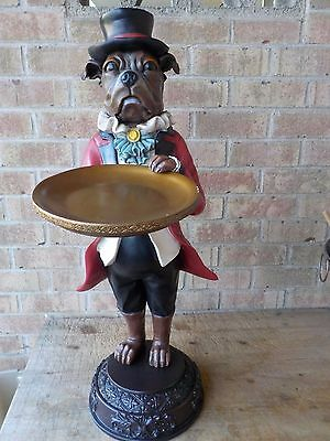 "Butler Bellboy Dog English Bulldog Figurine 34 ""t 9.5"" Tip Business Tray Bellhop"