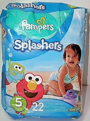 Pampers Splashers Disposable Swim Pants with Elmo- Size 5 and 6!