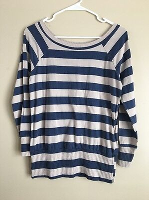 Preowned Women's Delias Blue And Brown Long Sleeve Blouse Size M