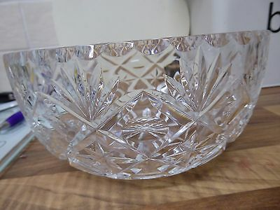 Stunning Large 1930s lead cutglass bowl. Very good quality crystal with gd.ring!