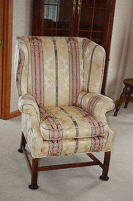 Vintage Queen Anne Wing Arm Chair Excellent Tapestry Original Fabric 2 Availabl