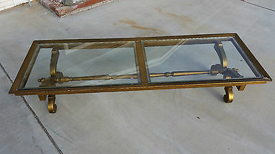 """1940s Fine French Rare Art Moderne Giltwood Gold Leaf Coffee Table 78"""" Heavy"""