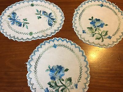 Vintage Set 3 Linen Doilies Embroidered Blue on Ecru