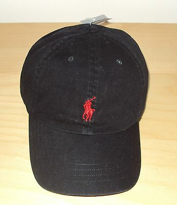 Nwt Polo Ralph Lauren Mens Classic Baseball Cap Hat Leather Strap Black