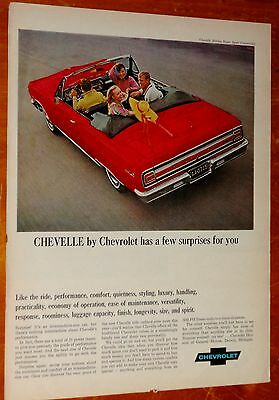 Unque 1965 Chevelle Malibu Ss Convertible Hand Colored Ad - Classic Chevrolet