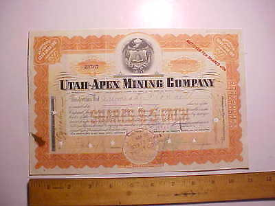 1916 Utah Apex Mining Co. Stock Certificate Mormons With Beehive 10 Shares Vg
