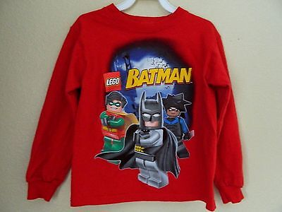 LEGO BATMAN boys or girls Long-sleeve GRAPHIC T SHIRT TOP SWEATSHIRT, red, sz 4