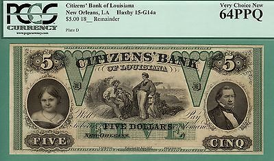 $5 CITIZENS' BANK of LOUISIANA, NEW ORLEANS, LA - PCGS CU 64 - REMAINDER NOTE