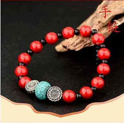 Natural Red Coral & Tibet Silver Handwork  National Fashion Bracelet @AA30