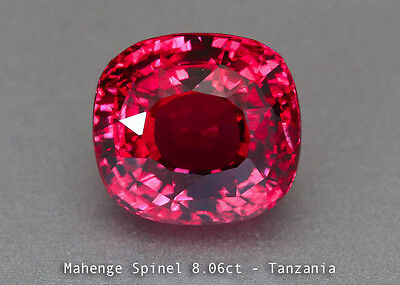 Glittering Fine Red Spinel - Cushion 8.06ct - Mahenge Spinel - SSEF Certified