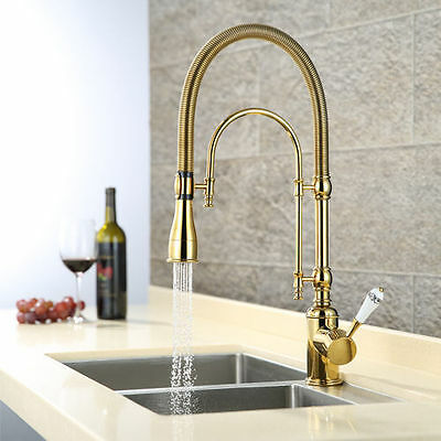 Rozinsanitary Brass Kitchen Sink Faucet Single Handle Gold Double Hole Mixer Tap