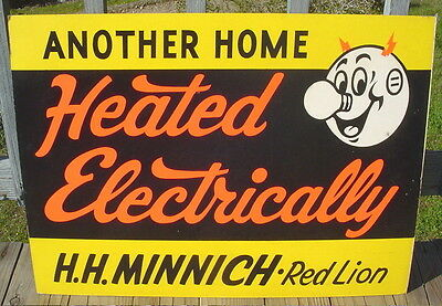 """Vintage Reddy Kilowatt """"another Home Heated Electrically"""" Advertising Sign 32"""""""