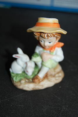 """Vintage 1970's Estate Find 3.5"""" Figure Young Boy with two white Rabbits"""
