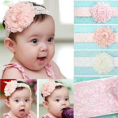 Cute Lovely Newborn Infant Baby Girls Kids Flower Soft Lace Headband Hairband