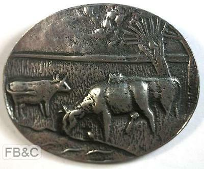 Country Scene - Cows - Tin Brooch - Tiel Netherlands