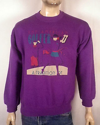 vtg 80s purple Ladies The American Golfer Sweatshirt retro logo SZ L