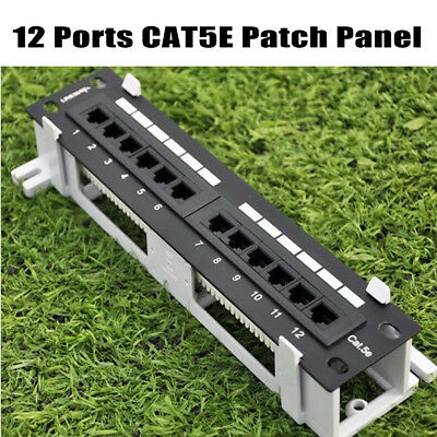 New 12 Ports Rj45 Cat5E Patch Panel Network Wall Mount & Rack Mount Bracket