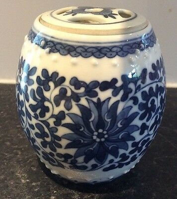 """Chinese Barrel Pot Blue And White Floral Patterned. Used. 5"""" Tall"""