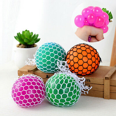 1x Colorful Anti Stress Reliever Mesh Grape Ball Autism Mood Squeeze Relief Toys