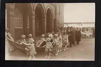 Rhyl - May Day Procession to the Pavilion - real photographic postcard