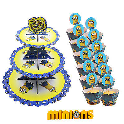 Minions SMALL DAMAGE Cupcake Stand 3 Tier + 12 FREE Wrappers & Toppers Party