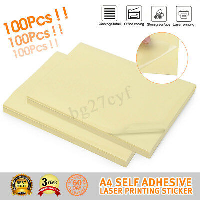 100x A4 Clear Glossy Self Adhesive Sticker Paper Transparent Label Laser Print