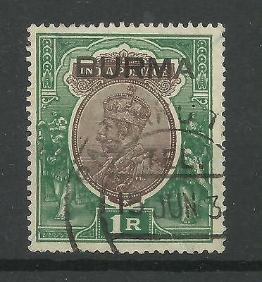 Burma 1937 Sg 13, 1r Chocolate & Green overprint, Very fine used [507]