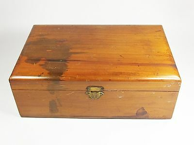 Vintage wooden wood lacquered cigarette box trinket jewellery paint pencil