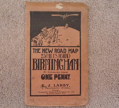 VINTAGE ROAD MAP OF BIRMINGHAM E.J.LARBY One Penny