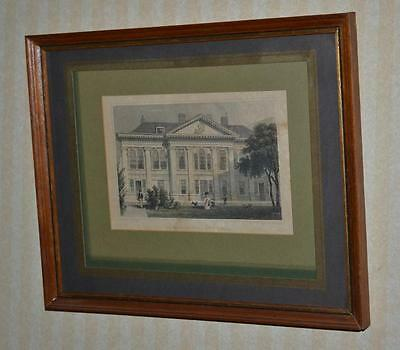 """19C Hand Coloured Steel Engraving """"Carpenter's Hall, London Wall"""" Framed [P3267]"""